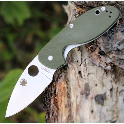 Couteau Spyderco Efficient Lame Acier 8Cr13MoV Plain Manche Green G-10 SC216GPGR - Livraison Gratuite