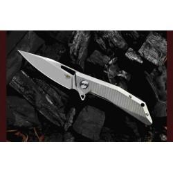 Couteau Bestech Shrapnel Grey Lame Acier CPM-S35VN Manche Titane Framelock Clip BTKT1802A - Livraison Gratuite