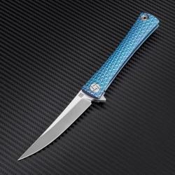 Couteau Artisan Waistline Lame Acier S35VN Manche Blue Titane Framelock Clip ATZ1805GBUS - Livraison Gratuite