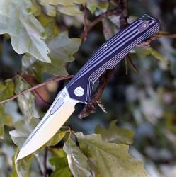 Couteau Artisan Zumwalt Lame Acier D2 Manche Black/White G-10 Linerlock Pocket Clip ATZ1808PBGC - Livraison Gratuite