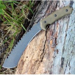 Couteau Tops Tundra Trekker TPTDTK01 Lame Acier Carbone 1095 Manche Micarta Etui Kydex Made USA - Livraison Gratuite