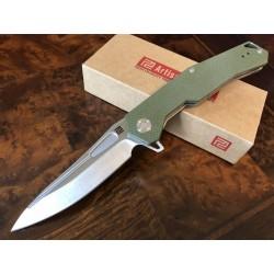 Couteau Artisan Zumwalt Lame Acier D2 Manche Green G-10 Linerlock Pocket Clip ATZ1808PGNF - Livraison Gratuite