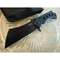 Couteau S-TEC Framelock Cleaver Lame Acier 440 Manche Acier Framelock Etui Nylon STT004BK - Livraison Gratuite