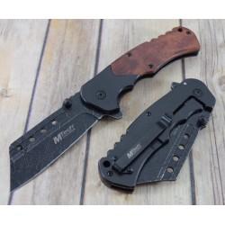 Couteau Tactical Mtech A/O Lame Forme Couperet Acier 3Cr13 Manche Acier/Bois MTA1050SW - Livraison Gratuite
