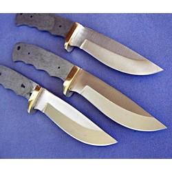 Lot de 3 Lames à Customiser Drop Point Lames Acier Inox Garde Laiton BL7702 - Livraison Gratuite