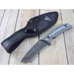 Couteau de Chasse Winchester Tanto Lame Acier Inox Manche Micarta Etui Nylon G1515 - Livraison Gratuite