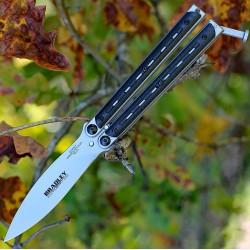 Couteau Bradley Kimura Balisong Butterfly Lame Acier 154CM Manche Fibre de Carbone USA BCC903 - Livraison Gratuite