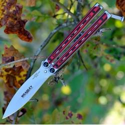 Couteau Bradley Kimura Balisong Butterfly Lame Acier 154CM Manche Red G-10 USA BCC904 - Livraison Gratuite