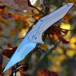 Couteau Brous Blades Tyrant Lame Acier D2 Manche Aluminium Rose Made In USA BRB244 - Livraison Gratuite