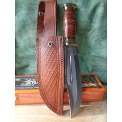 Couteau Bowie Marbles Stacked Leather Hunter Acier Carbone Manche Cuir Etui Cuir MR556 - Livraison Gratuite