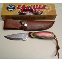 Bushcraft Couteau Sawmill Equalizer Game Lame A partir d'une Scie à Bois Manche Bois Etui Cuir SM5 - Livraison Gratuite