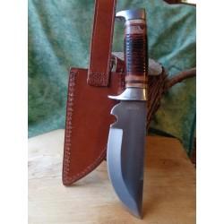 Couteau de Chasse Bowie Lame Acier Carbone Manche Os Etui Cuir RR2005 - Livraison Gratuite