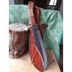 Couteau de Trappeur Bowie Alamo David Crocket Lame Acier Carbone Manche Bois Etui Cuir RR2007 - Livraison Gratuite