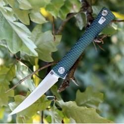 Couteau Artisan Waistline Lame Acier S35VN Manche Green Titane Framelock Clip ATZ1805GGNS - Livraison Gratuite
