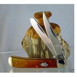 Couteau Rough Rider TrapperTobacco Bone Smooth 2 Lames Acier 440 Manche Os RR777 - Livraison Gratuite