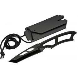 Lot de 3 Couteaux de Cou Tanto Lame Acier Inox Manche ABS Etui Nylon CN11430BK - Livraison Gratuite