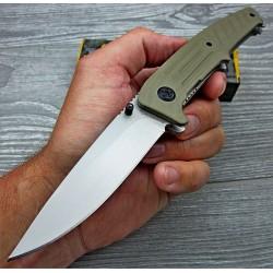 Couteau Semi Automatique Browning Linerlock A/O Tan Lame Acier Inox Manche G-10 Clip BR0167 - Livraison Gratuite