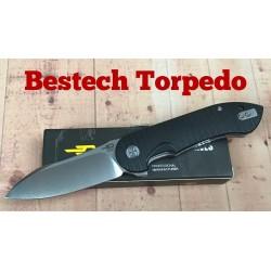 Couteau Bestech Torpedo Black Lame Acier D2 Manche G-10 Linerlock Clip BTKG17A1 - Livraison Gratuite