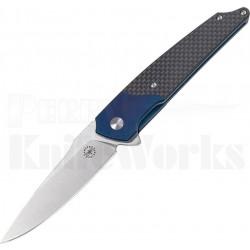AMR201801 Amare Knives Pocket Peak 14C28N Blade Carbon Fiber Titanium Blue Handle - Livraison Gratuite
