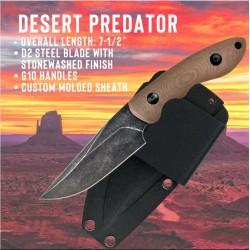 Couteau de Combat ABKT Tac Predator Lame Acier D2 Manche Desert G-10 Etui Kydex AB004T - Livraison Gratuite
