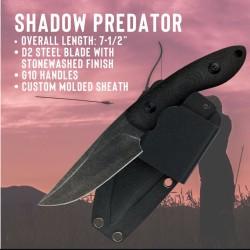 Couteau de Combat ABKT Tac Shadow Predator Lame Acier D2 Manche Black G-10 Etui Kydex AB004B - Livraison Gratuite