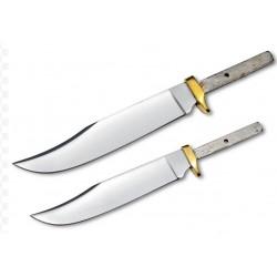 Lot de 2 Lames à Customiser Clip Point Lames Acier Inox Garde Laiton BL005-BL006 - Livraison Gratuite