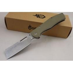 Couteau Gerber Flatiron Cleaver Lame Acier 7Cr17MoV Manche Green G-10 Framelock Clip G1495 - Livraison Gratuite