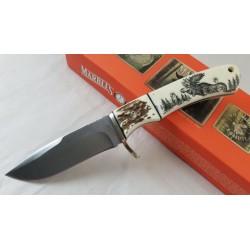 Couteau Marbles Scrimshaw Lame Acier Inox Manche Os Etui Nylon MR440 - Livraison Gratuite
