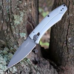 Couteau Kershaw Innuendo Lame Acier 8Cr13MoV Titanium Manche Acier Framelock KS3440 - Livraison Gratuite