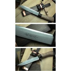 Couteau Kanetsune ENCHOU Lame Acier Blue Steel Damas 15 Couches Manche Bois Etui Bois Made In Japan KB447 - Livraison Gratuite