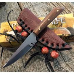 Couteau D'Indien Native Lame Acier Inox Manche Bois Etui Cuir PA3296 - Livraison Gratuite