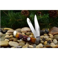 Couteau Canif Bear & Son Large Trapper 2 Lames Acier Carbone 1095 Manche Os Made In USA BCCRSB54 - Livraison Gratuite