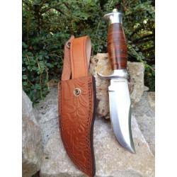 Poignard Couteau Bowie Chasseur D'OURS Alamo Hunter Leather Lame Acier 440 Manche Cuir Etui Cuir RR2109 - Livraison Gratuite