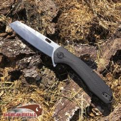 Couteau ABKT Tac Warthog Linerlock Black Manche Micarta Lame Acier D2 Clip AB046 - Livraison Gratuite