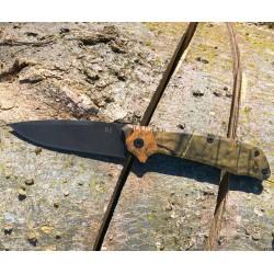 Couteau ABKT Tac Predator Tactical Manche G10 Mossy Oak Lame Acier D2 Linerlock AB026M - Livraison Gratuite