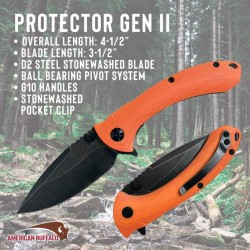 Couteau ABKT Tac Protector II Manche Orange G10 Lame Acier D2 Linerlock Clip AB023H - Livraison Gratuite