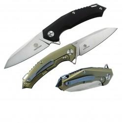 TF32201 Couteau Defcon JK Hybrid D2 Sheepsfoot Blade G10/Titanium Handles Framelock Clip - Livraison Gratuite
