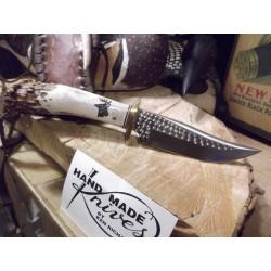 Couteau Ken Richardson Knives Bowie Manche Elan Lame Acier 1085HC Etui Cuir USA KRK1408 - Livraison Gratuite