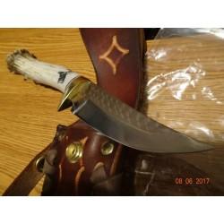 Couteau Ken Richardson Knives Skinner Manche Elan Lame Acier 1085HC Etui Cuir USA KRK1405C - Livraison Gratuite