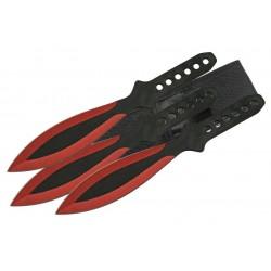 Lot de 6 Couteaux de Lancer Red Throwing Knife Set 6 Pcs Acier Inox Etui Nylon CN211415RD - Livraison Gratuite