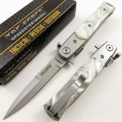 Stiletto Couteau Mafia Milano A/O Lame Acier 440 Manche Façon Perle Linerlock Clip TF438P - Livraison Gratuite