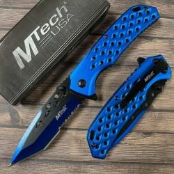 Lot de 3 Couteau Mtech Tactical Urban A/O Tanto Acier Carbone/Inox Manche Alu Blue MTA931BL - Livraison Gratuite