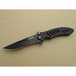 Couteau Remington Sportman FAST Manche Black Lame Acier 440 Serrat Linerlock Clip R18219 - Livraison Gratuite