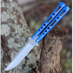 Couteau Papillon Ballisong Butterfly Blue Lame Acier 440 Manche Zinc Made In USA BenchMark BM011 - Livraison Gratuite