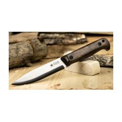 Couteau Kizlyar Forester N690 StoneWash Manche Noyer Lame Acier N690 Etui Cuir Made Russia KK0112 - Livraison Gratuite