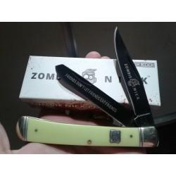 RR1452 Couteau Rough Rider Zombie Nick Trapper 2 Lame Acier 440 Manche Os - Livraison Gratuite