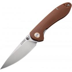 Couteau CJRB Small Feldspar Brown Lame Acier D2 Manche G10 LinerLock Clip J1912SBNC - Livraison Gratuite