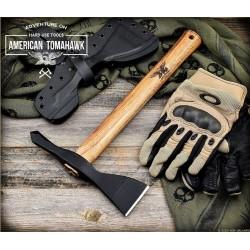 Hachette American Model 1 Tomahawk Hickory Lame Acier Carbone 1060 Manche Bois Etui USA ATC810676 - Livraison Gratuite