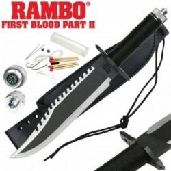 Couteau Rambo II First Blood Part II Standard Edition Acier Inox Manche Paracorde Etui Cuir RB9294 - Livraison Gratuite