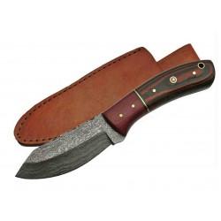 Couteau Damas Skinner Burgundy Micarta Lame Acier 256 Couches Etui Cuir DM1139 - Livraison Gratuite